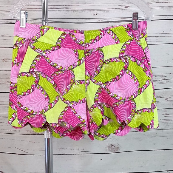 crown & ivy Pants - Crown & Ivy pink green shell geo scallop shorts